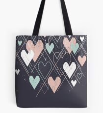Geometrical hearts background Tote Bag