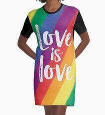 Love is love - Rainbow flag pride Graphic T-Shirt Dress