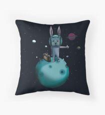 hitchhiking bunny Throw Pillow