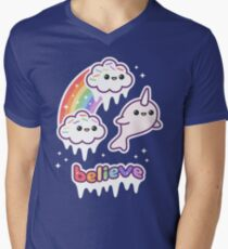 Believe in Narwhals Men's V-Neck T-Shirt