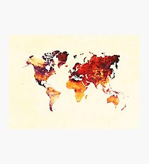 world map 89 art red Photographic Print