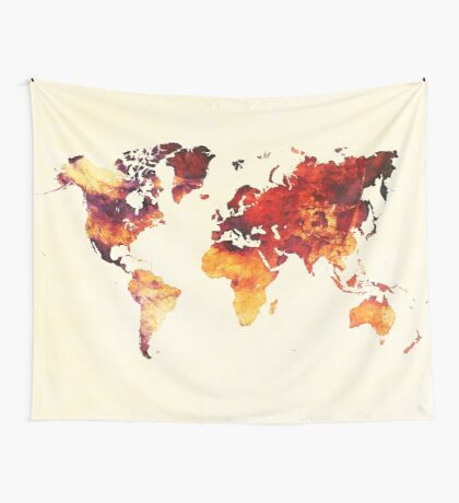 world map 89 art red Wall Tapestry