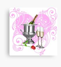 champagne and rose heart Canvas Print