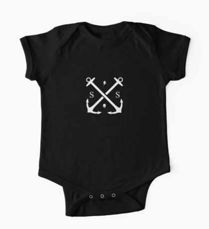 SS Anchor Logo White on Black Kids Clothes
