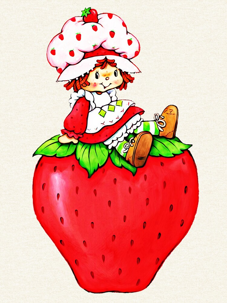 Erdbeerkuchen, Erdbeere klassische 80er Karikatur von RainbowRetro