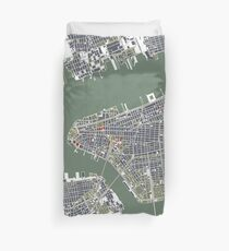New York city map engraving Duvet Cover
