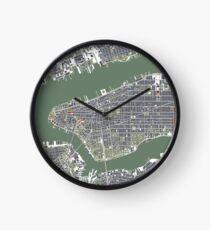 Reloj New York city map engraving