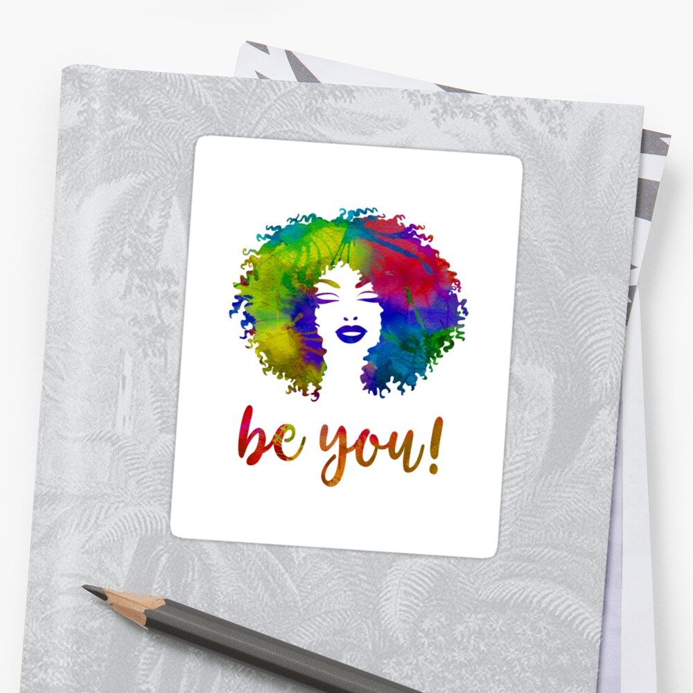 Watercolor Afro Hair Woman Be You! by CheriesArt