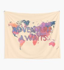 world map 91 ADVENTURE AWAITS Wall Tapestry