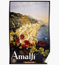 Amalfi Italia Vintage Travel Poster Poster