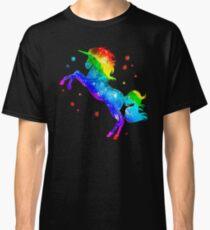Regenbogen-Einhorn, Sterne, Galaxieart, Raum Classic T-Shirt