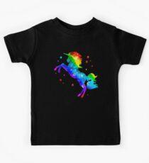 Regenbogen-Einhorn, Sterne, Galaxieart, Raum Kinder T-Shirt