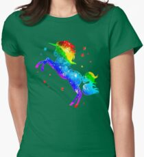 Rainbow Unicorn, stars, galaxy style, space T-Shirt