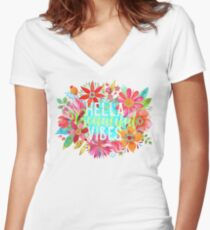 Hella Beautiful Vibes Women's Fitted V-Neck T-Shirt