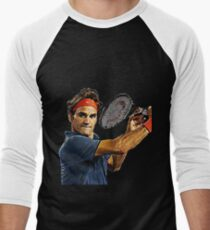 Roger Federer in action Men's Baseball ¾ T-Shirt