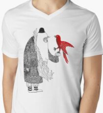 Darwin and red bird Men's V-Neck T-Shirt