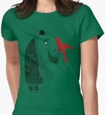 Darwin and red bird Women's Fitted T-Shirt