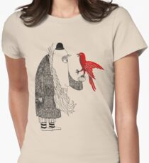 Darwin and red bird Womens Fitted T-Shirt