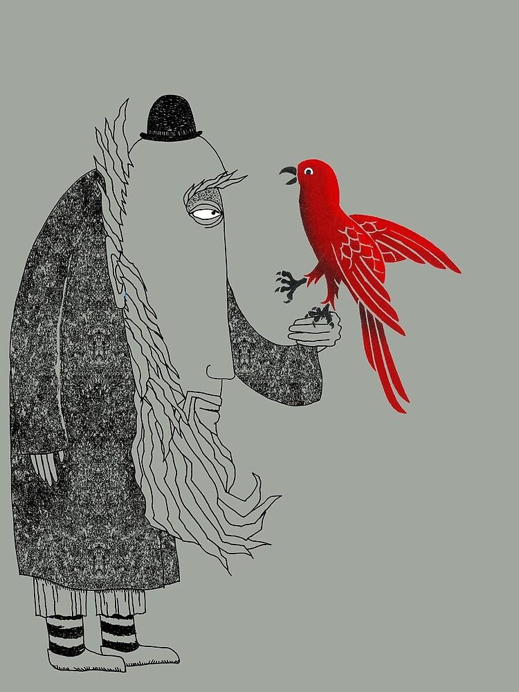 Darwin and red bird by SusanSanford