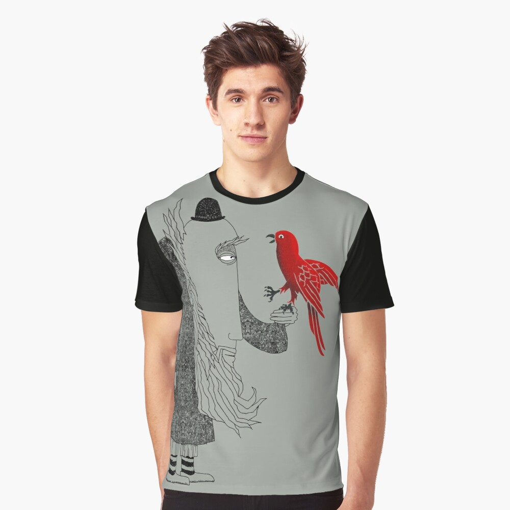 Darwin and red bird Graphic T-Shirt Front