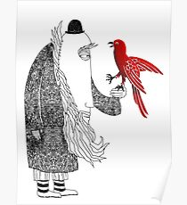 Darwin and red bird Poster