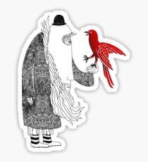 Darwin and red bird Sticker