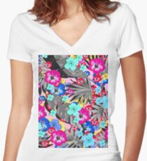 Tropical Flower Mix Women's Fitted V-Neck T-Shirt