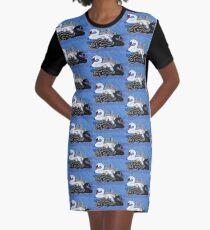 Seven Swans Swimming Graphic T-Shirt Dress