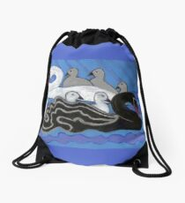 Seven Swans Swimming Drawstring Bag