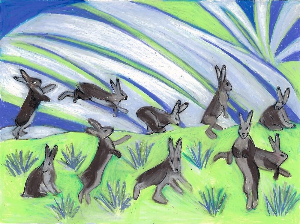 Ten Leaping Hares by Denise Weaver Ross