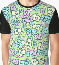 Cheerful Little Folk Art Flowers Spring Green Graphic T-Shirt