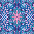 Lotus and lace, bohemian arabesque pattern, pink, turquoise and purple by clipsocallipso