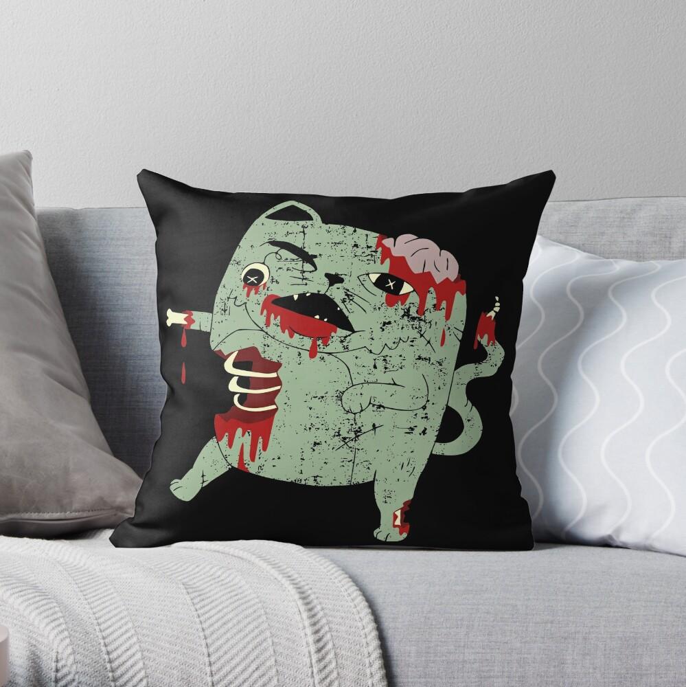 Zombie Cat Throw Pillow
