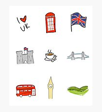 I Heart United Kingdom, British Love, UK landmarks Photographic Print