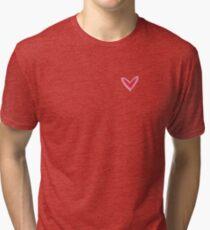 Pretty Pink Heart Print, Beautiful Spring Love Hearts Tri-blend T-Shirt