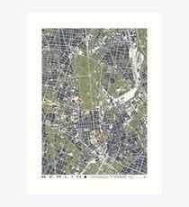 Berlin city engraving map Art Print