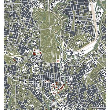 Berlin city engraving map by PlanosUrbanos