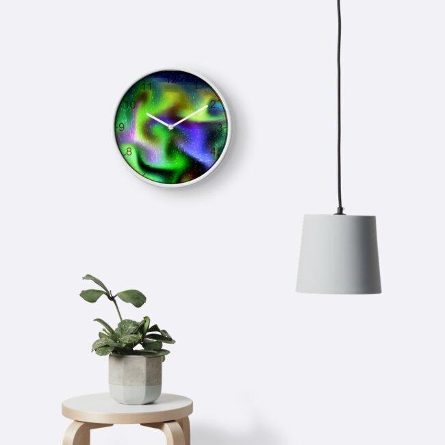 Psychedelic neon colour swirls clock.  Smoke effects. by TJ-Allen