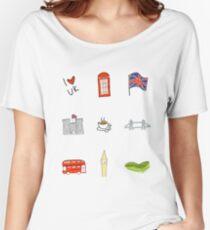 I Heart United Kingdom, British Love, UK landmarks Women's Relaxed Fit T-Shirt