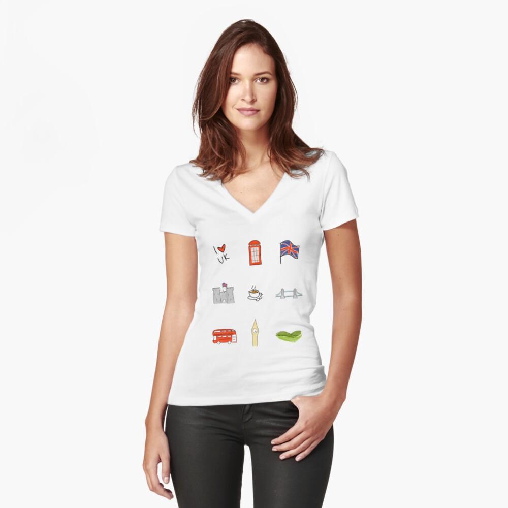 I Herz Großbritannien, britische Liebe, BRITISCHE Marksteine Tailliertes T-Shirt mit V-Ausschnitt