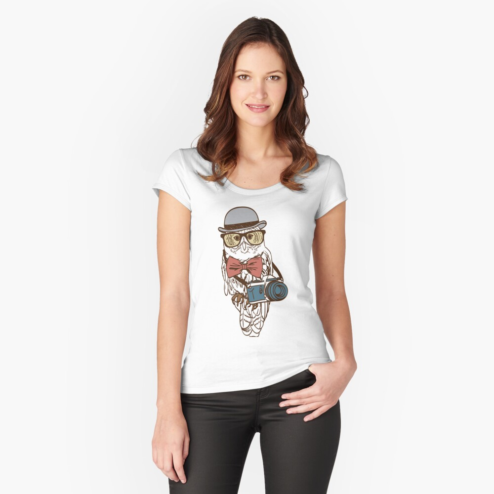 Hipster Photographer Owl Women's Fitted Scoop T-Shirt Front