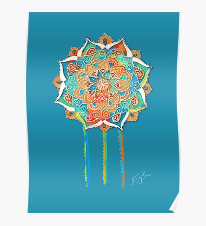 Celestial Blue Mandala Poster