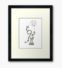 Peace Robot with Earth Balloon Framed Print