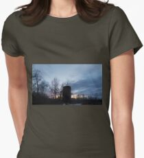HDR Composite - Backlit Sunset Trees and Abandoned Silo Womens Fitted T-Shirt