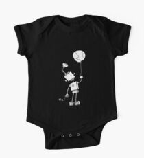 Peace Robot with Earth Balloon - White One Piece - Short Sleeve