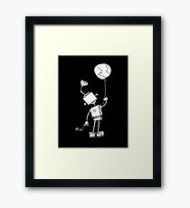 Peace Robot with Earth Balloon - White Framed Print