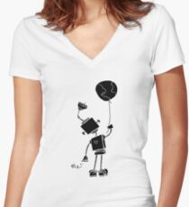 Peace Robot with Earth Balloon - Black Women's Fitted V-Neck T-Shirt