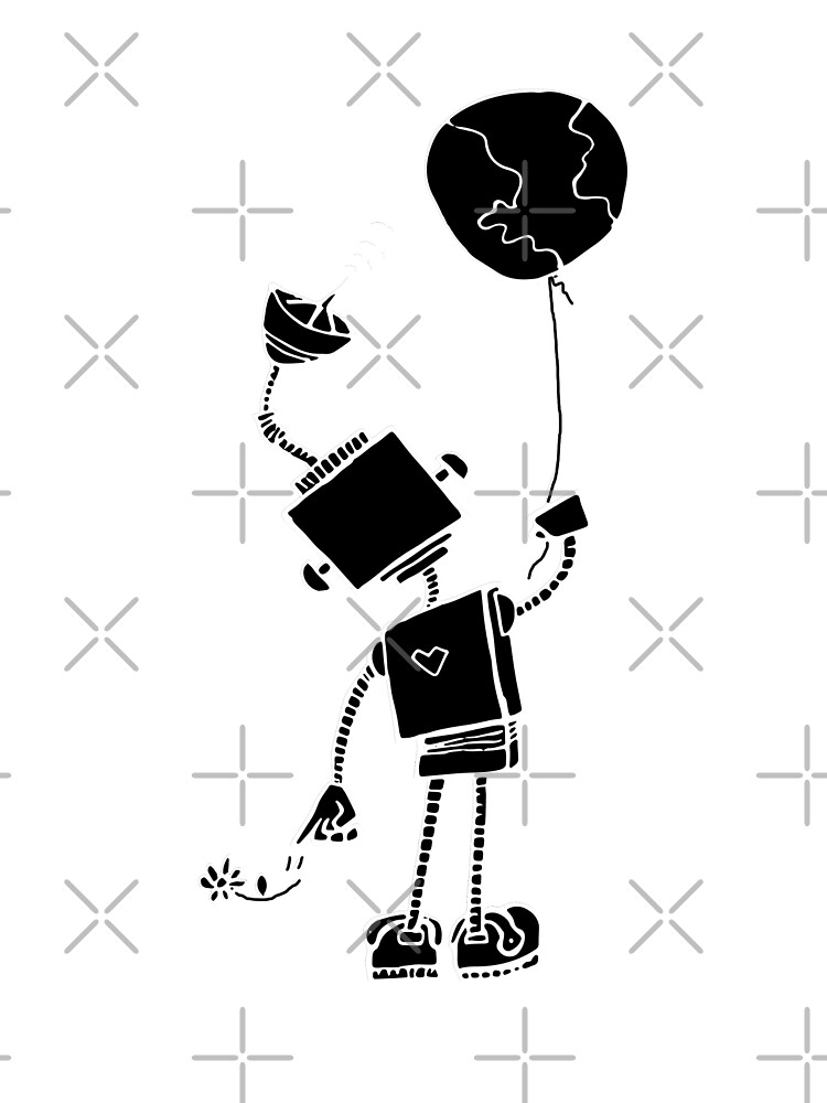 Peace Robot with Earth Balloon - Black by jitterfly