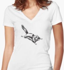 Flying Sugar Glider Women's Fitted V-Neck T-Shirt