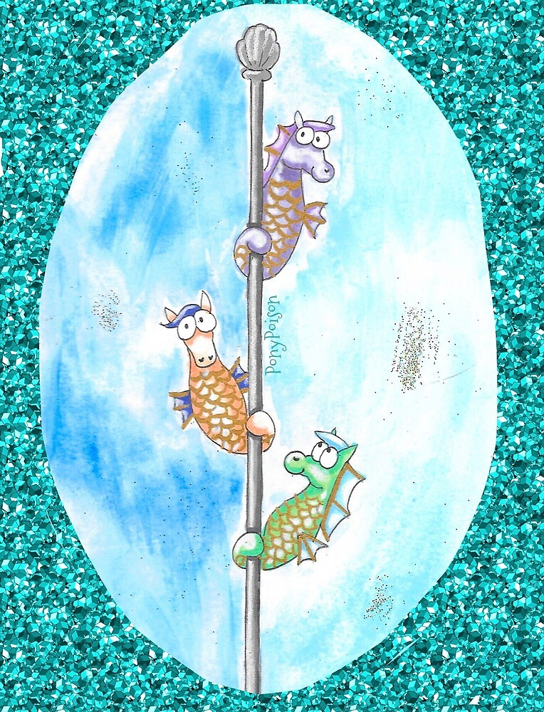 Sparkle Background Pole Dancing Seahorses by PonyPoison